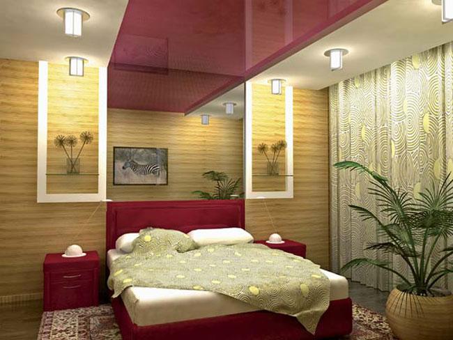 дизайн натяжных потолков в спальне фото в квартире